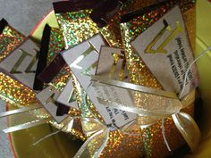 Golden birthday candy bar favors