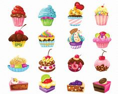 Stylish Sweet Cake Clipart. Food Illustration. by digistockdesign