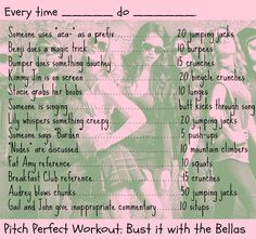Pitch Perfect Workout!  Work out while you watch Pitch Perfect?! Perfect! @Brittney Anderson H @Kassie Kauffeld Langum