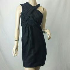 All Saints Spitalfields Charn black mini dress Asymmetric neckline.  Ruched details.  Textured cotton blend.  Bust/waist/hips: 33/26/35.  34 inches long.  UK 8 = US 4.  Excellent condition. All Saints Dresses Mini