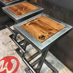 Stool bar design steel and wood industrial made to image 1 Welded Furniture, Industrial Design Furniture, Steel Furniture, My Furniture, Coffee Table Metal Frame, Bar Counter Design, Welding Table, Welding Cart, Diy Welding