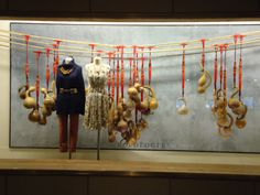 Window display with hanging gourds