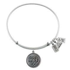 Hope, Filigree Heart Charm Bangle | Wind and Fire Jewelry