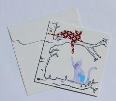 Handmade Kitty Tree Greeting Card with Envelope - Modern Cat Art