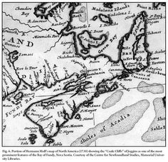 """Portion of Hermann Moll's 1730 #map of North America showing the """"Coale Cliffs"""" of Joggins http://candiangeo.info/1730-map"""