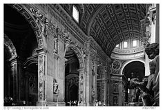 Cavernous interior of Basilic San Peter. Vatican City (black and white)