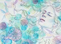 """The garden of dreams"" art by Katrina Koltes, mixed media artist and art instructor Watercolor Face, Watercolor Paintings, Ink Paintings, Dreams And Visions, Dream Art, Mixed Media Artists, Watercolor Techniques, Diy Art, Art Pieces"