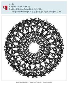 x = .5; m = {z = {0, 0}, {1, 0}, {x, 1}}; Graphics@  NestList[Rotate[#, 6, {x, 1.2}] &,    Nest[Translate[Scale[#, x, z], {z, {x, 0}, {.3, x}}] &, Line@m, 7],    21]