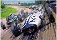 """Actor James Garner is shown piloting a McLaren M2B around the high banking of the legendary Monza circuit in Nicolas Watt's painting inspired by the 1966 movie """"Grand Prix."""" Since Garner's Yamura Motors was a fictional race team, the producers struck a deal with Bruce McLaren's newly-formed McLaren team to have his car, the McLaren M2B, to be painted with Yamura's colors."""