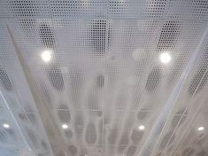 toni stabile center - perforated white metal ceiling panels #metalperforado