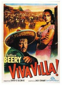 VIVA VILLA (1933) - Wallace Beery - Produced by David O. Selznick - Directed by Jack Conway - MGM - Movie Poster. Central America, South America, Wallace Beery, Tv Show Music, Westerns, Movie Tv, Tv Shows, Villa, Mexico