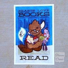 Beasts Love Books Art Print by Steam Crow.