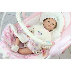 82.99$  Watch now - http://ali4d2.shopchina.info/go.php?t=32802766349 - New Design 22 Inch Dressed White Skirt Reborn Baby Doll Girl Soft Silicone Real Life Baby Dolls Kits Toy For Sale Birthday Gifts 82.99$ #aliexpresschina