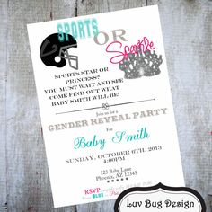 GENDER REVEAL Sports or Sparkle Themed Baby Shower Invitation-Printable party invitations by Luv Bug Design on Etsy, $14.00