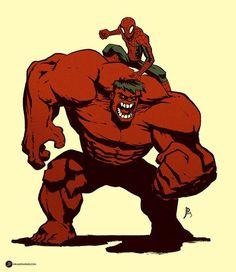 #Red #Hulk #Fan #Art. (Spidey and red Hulk) By: JakeParker. (THE * 5 * STÅR * ÅWARD * OF: * AW YEAH, IT'S MAJOR ÅWESOMENESS!!!™)[THANK U 4 PINNING!!!<·><]<©>ÅÅÅ+(OB4E)