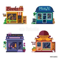Vector: Set of nice shops. Different Showcases: Barbershop, Music Store, Boutique, Books shop. Flat vector illustration stock set.