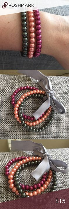 3 Set of Pearl Bracelets. Pearls in grey, fuscia and peach colored. Jewelry Bracelets
