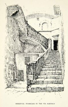 Architecture Drawing Discover 1898 Print Architectural Medieval Staircase Via Bartolo Perugia City Italy 1898 Print Architectural Medieval Staircase Via Bartolo Perugia City Italy Architecture Drawing Plan, Architecture Drawing Sketchbooks, Architecture Collage, City Sketch, Pen Sketch, Ink Pen Drawings, Ink Illustrations, Urban Sketching, Gravure