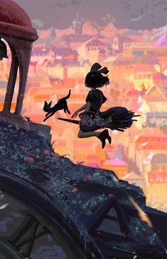 Sunset X Kiki delivery service by Yuuki Jia Totoro, Studio Ghibli Art, Studio Ghibli Movies, Studio Ghibli Poster, Kiki Delivery, Kiki's Delivery Service, Hayao Miyazaki, Howls Moving Castle, Animes Wallpapers