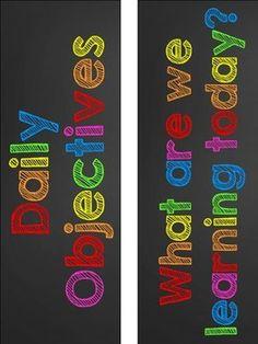 RAINBOW CHALKBOARD DAILY OBJECTIVE AND SUBJECT AREA LABELS - FREEBIE - TeachersPayTeachers.com