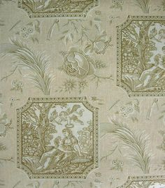 Le Galant Toile Fabric French Cameo print in beige and brown printed on off white cotton @ fabricsandpapers. I love the cameo toile - not sure about the colors they would be hard to match even though they are neutral.