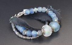 Lampwork beads, Thai silk, labradorite, African glass beads, silver
