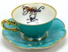 Gothic Cyanide Poison Tea Cup & Saucer by Austin Modern Tea Rose Garden, Roses Garden, Coffee Shops Austin, Cute Tea Cups, Fancy Dishes, Decorating Coffee Tables, Tea Cup Saucer, Cyanide Poison, Tea Party