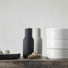Menu Pepper and salt mill Bottle Grinder Set carbon & ash | Menu Design Shop