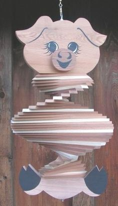 Pig Wooden Wind Spinner