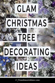 Find some gorgeous glam Christmas tree decorating ideas that will inspire you to create beautiful holiday decor in your own home. Gold And Silver Christmas Trees, Blue Christmas Tree Decorations, Diy Christmas Tree Topper, Purple Christmas Tree, Elegant Christmas Trees, Fabric Christmas Trees, Holiday Decor, Christmas Mantles, Christmas Bedroom