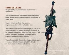 Staff of Dread : UnearthedArcana – Brewing Equipment Dnd Dragons, Dungeons And Dragons 5e, Dungeons And Dragons Homebrew, Dnd Classes, Dnd 5e Homebrew, Dnd Monsters, D House, Weapon Concept Art, Necromancer