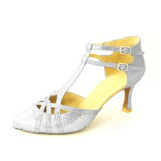 Women's Leatherette Heels Pumps Modern With T-Strap Dance Shoes (053020143)
