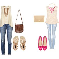 Casual Spring-time outfits....love those kitty flats !