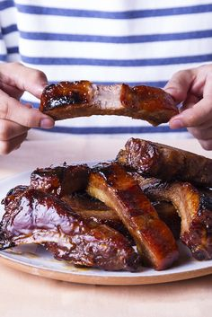 Brandy and hoisin shine in these sweet and sticky pork spareribs, a staple at most dim sum restaurants.cut the sugar down to 1 cup Rib Recipes, Grilling Recipes, Cooking Recipes, Smoker Recipes, Seafood Recipes, Cooking Tips, Pork Spare Ribs, Pork Ribs, Bbq Ribs