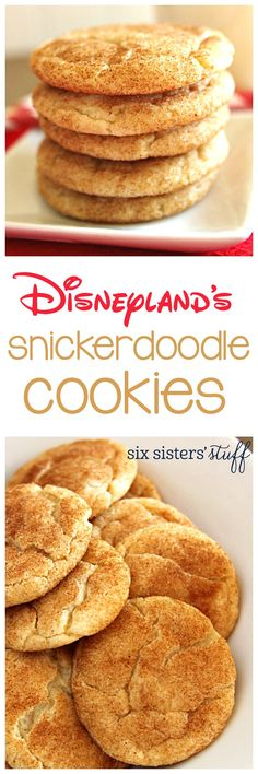Disneyland's Copycat Snickerdoodle Recipe - Six Sisters' Stuff These Chewy, Made. Disneyland's Copycat Snickerdoodle Recipe - Six Sisters' Stuff These Chewy, Made From Scratch Cookies Are A Perfect Afterschool Snack Or Dessert. Köstliche Desserts, Delicious Desserts, Dessert Recipes, Yummy Food, Cokies Recipes, Party Recipes, Frozen Desserts, Plated Desserts, Healthy Desserts