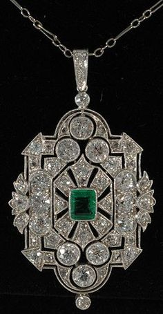 John Joseph Pendants Platinum set emerald and diamond deco fine pendant