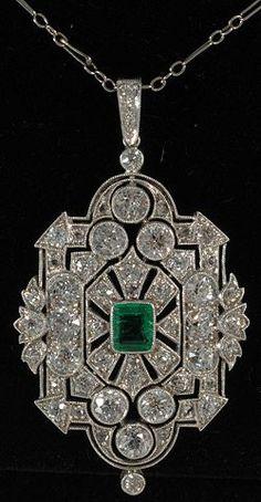John Joseph  colgantes del platino , de esmeralda y diamantes deco