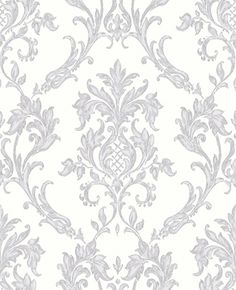 Rafaele (M0733) - Vymura Wallpapers - An elegant antique damask on a glittering background. Shown in lilac tinted grey - more colours available. Please request a sample for true match.