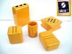 Servizio set bagno ceramiche SICART vintage 70-80 design Spagnolo. Mangiarotti