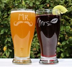 Mr and Mrs Mugs, Mr and Mrs Beer Glasses, etched Mustache and Lips by ScissorMill.com