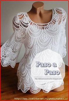 Delicadezas en crochet Gabriela: Hermosa blusa de encajes