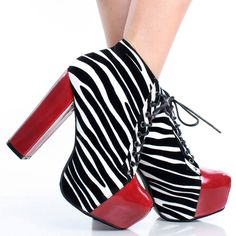 Black White Zebra Suede Lace Up Women Chunky Heel Platform Ankle Boots Size 6