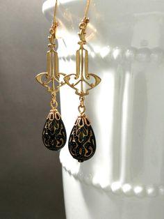 Art Deco Earrings - Art Deco Jewelry - Black and Gold Earrings - Egyptian Revival Jewelry - Vintage Style Reproduction Art Deco Earrings, Art Deco Jewelry, Vintage Jewelry, Jewelry Design, Vintage Brooches, Crystal Jewelry, Sterling Silver Jewelry, Black Earrings, Drop Earrings