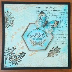 """""""Rêve ta vie en couleurs, c'est le secret du bonheur"""" Carte Automne et Papillon. Technique aquarelle (encres memento) avec tampons et pochoirs."""