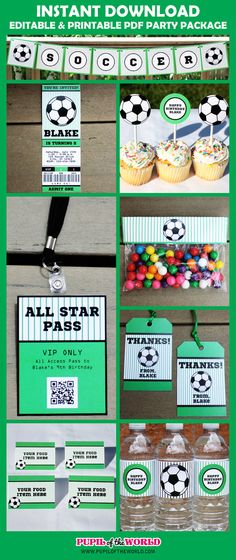 Soccer Birthday Party Printable Package by PupiloftheWorld, $15.99
