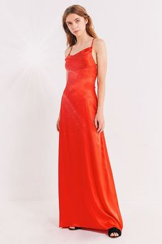 Slide View: 1: UO Cowl Neck Silk Maxi Dress