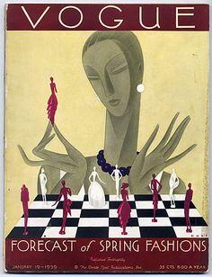 Vogue USA 1929 January 19th -- chess & fashion