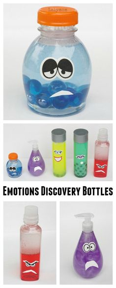 Make an Epic Set of Inside Out Discovery Bottles! How to Make Emotions Discovery Bottles - Inspired by Disney Pixar's Inside Out activity :: learning about emotions :: feelings theme Emotions Activities, Learning Activities, Preschool Activities, Feelings Preschool, Teaching Emotions, Sensory Bottles Preschool, Children Activities, Infant Sensory Activities, Preschool Kindergarten