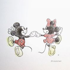 A colour version of my illustration of Mickey and Minnie Mouse #mickey #minnie…