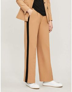 8a684172830bea Maje Polilo side-striped woven-twill trousers